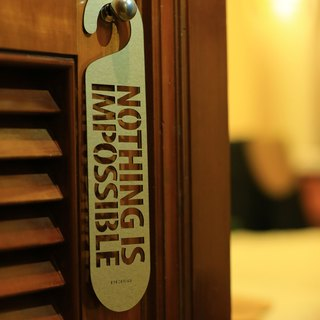"[EyeDesign see design] a word door hanging ""NOTHING IS IMPOSSIBLE"" D30"