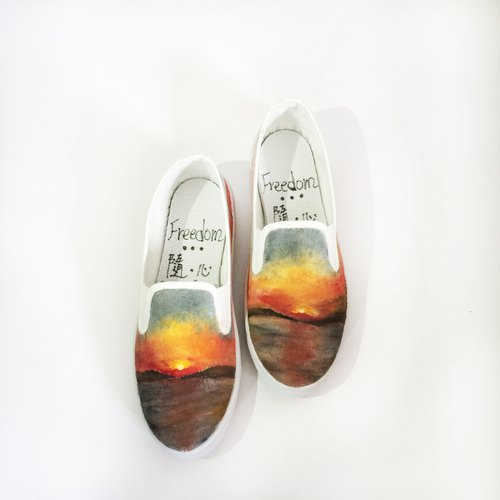 Exclusive Order - Women Greece sunset hand-painted canvas shoes Hand-Drawing Shoes / birthday gift / customized / Nature / Sunset