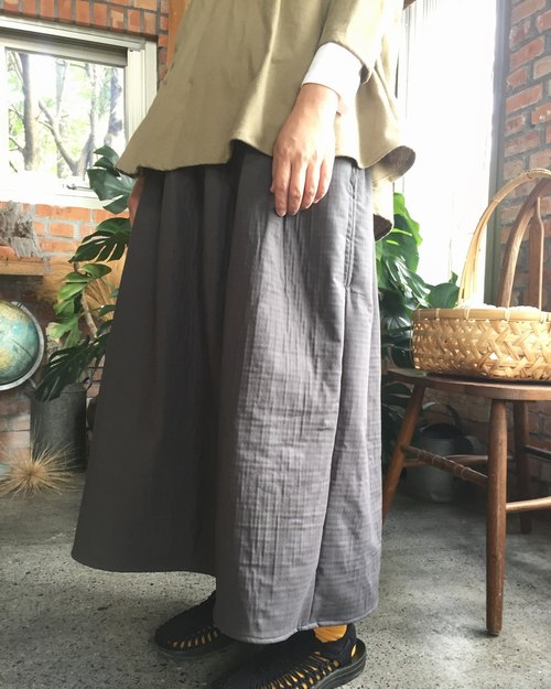 Natural material autumn and winter thick double cotton pockets round skirt
