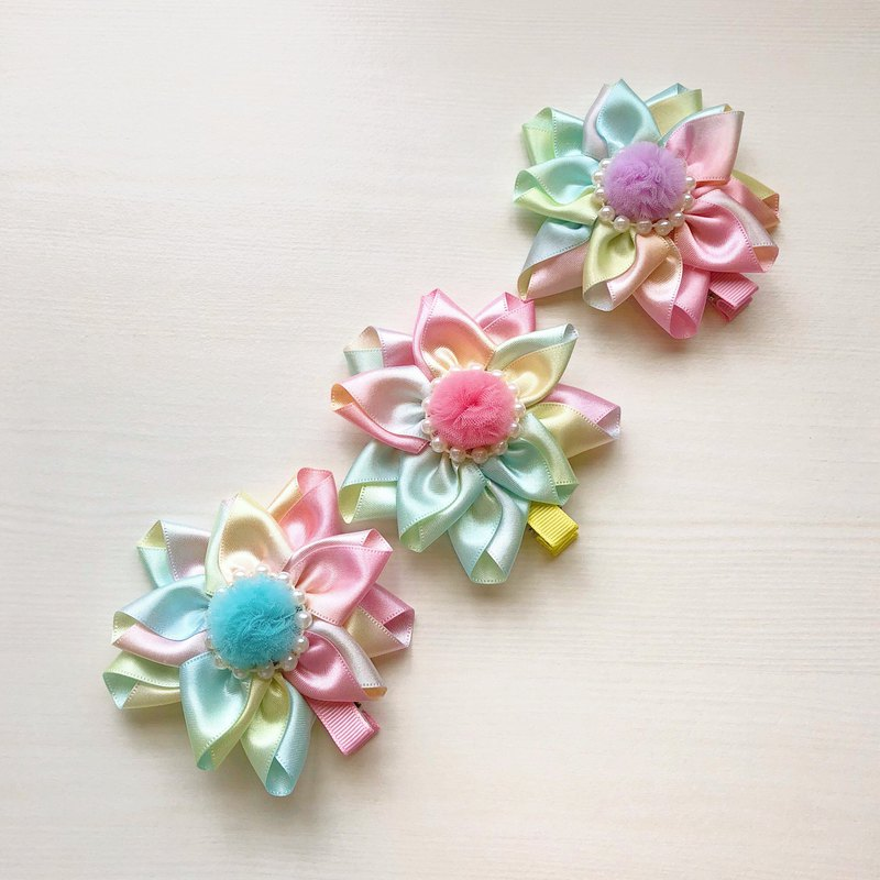 Child Child Parenting Hair Clip Japan Gradient Ribbon Mesh Pearl