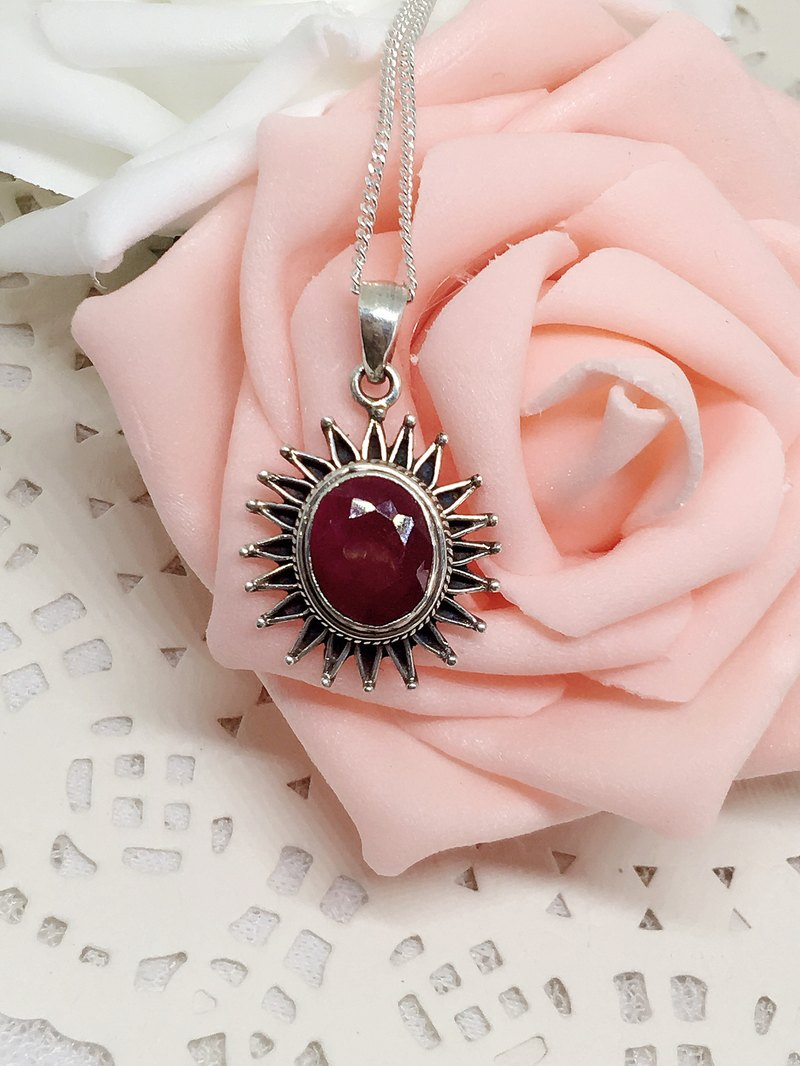 Nepal natural ruby ​​silver necklaces no optimization valentine