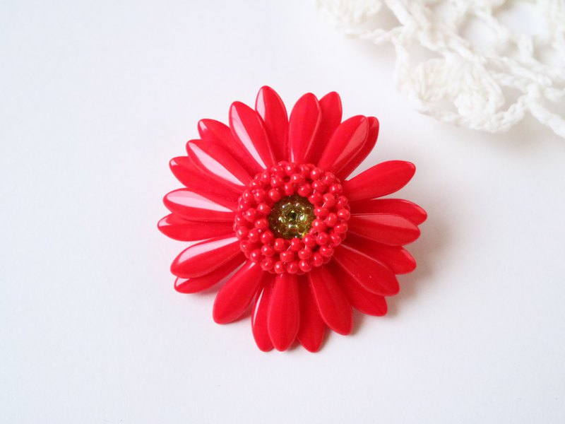 "Gerbera Brooch ""red"""