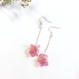 Three-dimensional real flower hydrangea hanging sterling silver earrings