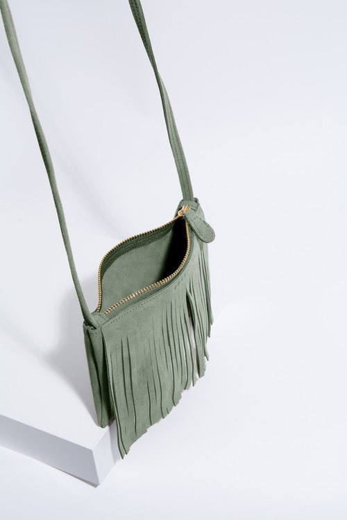 Leather cross-body bag ( Green) : Mini Fringe Grasshopper