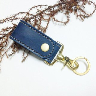 Xuan Leather gold-plated event key ring dark blue double leather