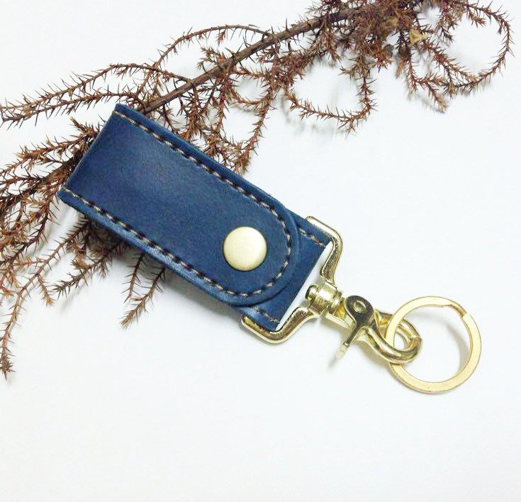 Gold-plated activity hook key ring dark blue double leather