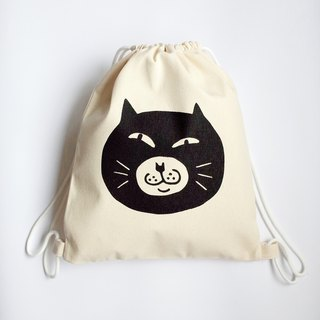 Big Cat Draw Bag / Backpack / Eco Bag / Masked Cat / Thick Style / Beige + Black