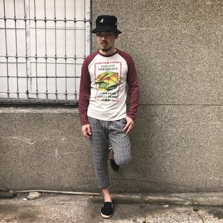 <Self-sales> Retro long-sleeve baseball T-SHIRT-Taiwanese tea only XS啰