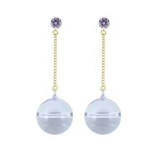 Crystal top long earring - purple