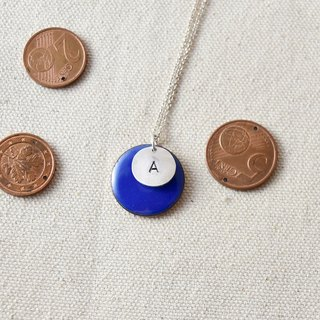 Euro coin / letter silver necklace / A