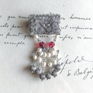 Curtain call Brooch long silver