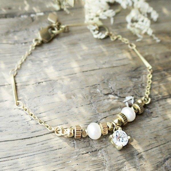 VIIART。十二宫-雙子。珍珠鋯石鑽黃銅手鍊