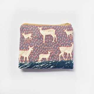 Small Zipper Pouch Padded • Coin Purse Wallet, Deer, Woodland Animal, Cute Pattern Mix, Small Gifts, Holiday Gifts, Handmade Fabric Pouch