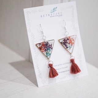 Ammi majus (mix) triangle earring  *Special edition