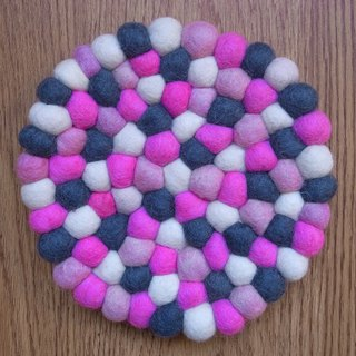 Potholder, Trivet, Pan Coaster, Pot holder, Felt ball Trivet Round 20cm Pink