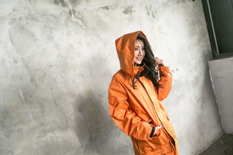 本格スタイル日系兩截式風雨衣-消光橘