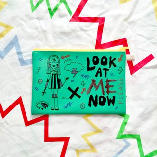 Hand-painted Clutch Bag : LOOK AT ME NOW