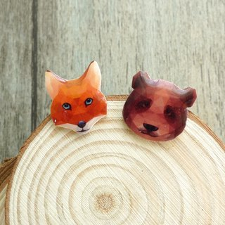 Misssheep- Geometric Animal Series Orange Fox/Brown Bear Earrings (Straightening Ears / Transparent Ear Clips) (Single)