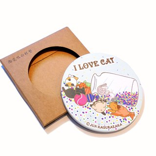 Cat Ceramic Water Cup Coaster~Water Green Dessert Candy Cat