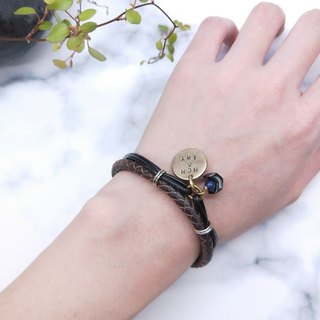 wristband.**Customized Lettering**Lapis Lace Double Leather Round Bracelet Valentine/Christmas