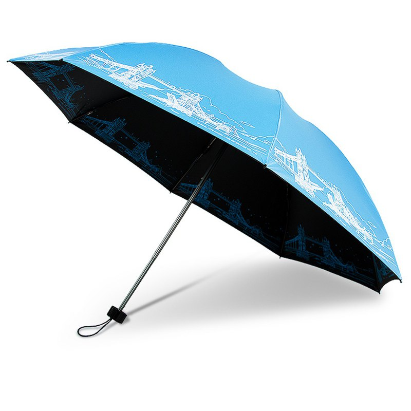 Ssangyong London Iron Bridge invincible reverse folding umbrella vinyl reverse umbrella wind and rain umbrella folding umbrella (lake blue)