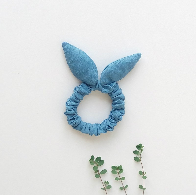 Blue dyed rabbit ear hair ring hand dyed plant dyed donut rabbit ear hair bundle soft and delicate hair ring