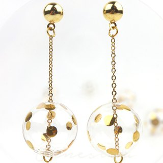 JEANNE GOLD DOTS - Gold-paint polka dots bubbles earrings