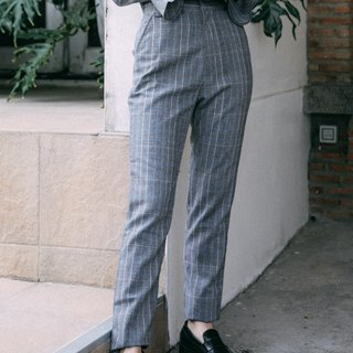 (SIZE S) COOL GREY CHECK PLAID HIGH WAIST PANTS WITH POCKETS
