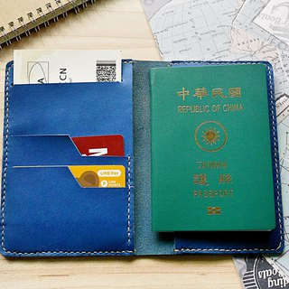 Passport Set Navy Italian leather free custom lettering