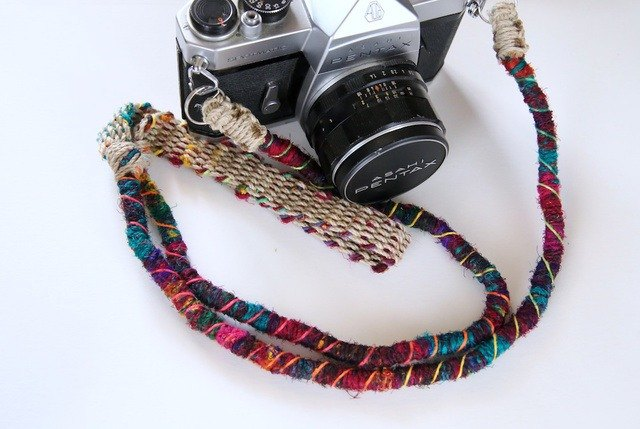 Approximately 90cm / Crazy-color hemp string hemp camera strap / double ring + mobile phone strap