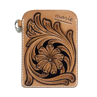marie / Mary genuine leather leather pass case / Sheridan style / regular entry / hand dyed / carving