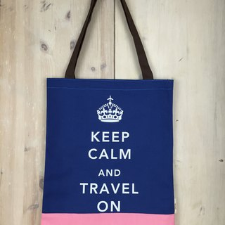 Keep Calm & Travel On Book Tote - Navy Blue - Pink