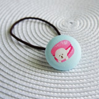 Lovely【Japanese cloth】Macaron Bichon Frise with elastic hair, pink blue background