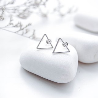 Contemporary 925 sterling silver small triangle earrings