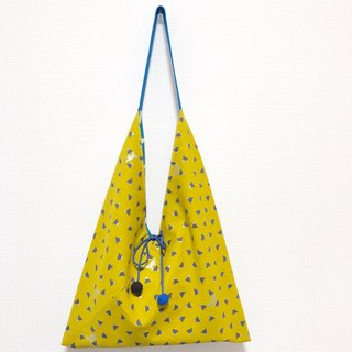 Japanese-style 侧-shaped side backpack / large size / yellow small triangle - blue circle