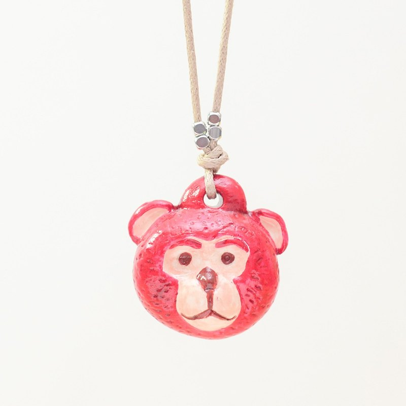 a little red lucky monkey handmade woman fashion necklace from Niyome clay