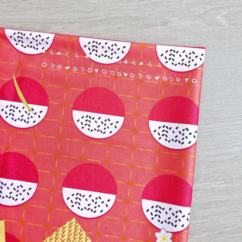 紅白果果 純棉 印花布 甚三紅