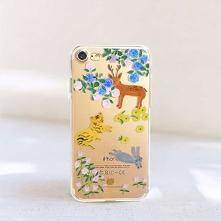Animal clear phone case Floral clear iPhone x Case Rabbit phone Case Note8 case