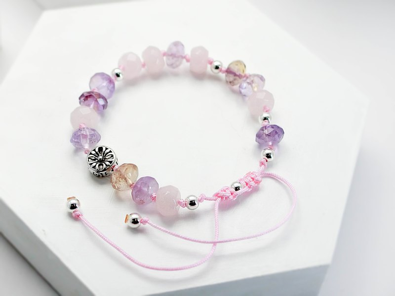 Fun fairytale natural stone silver bracelet │ pink green pink amethyst powder crystal Chinese Valentine's Day