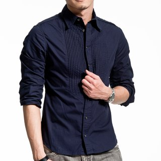 Chest pressure pleated fine dark blue long-sleeved shirt
