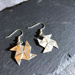 E11014 Paper Windmill Silver 999 and 925 Earrings