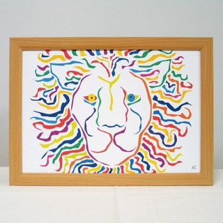 繪畫插圖藝術獅獅獅白色 Painting illustrations Art Lion Lion LION white A4-k02