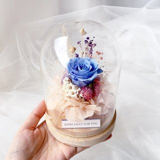 Journee Elf Garden Glass Cover Eternal Flower Gift / Eternal Rose Glass Flower Room Blue Rose