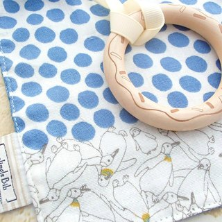 Baby Teething Blanket, Rattle Teether, Wooden Toy, Japanese Cotton, Penguin Blue