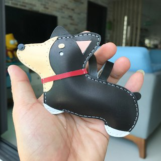 Handmade Leather Taiwan MIT Black Corgi Dog Handmade Leather Charm Large Size