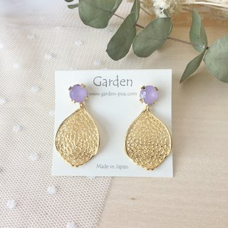 Leaf earrings purple