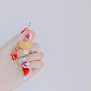Marygo ♪ peach love ♪ pearl hanging earrings