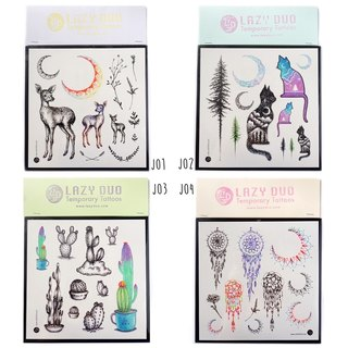 Boho Summer Beach Party Cute Animal Cat Dog Watercolor Temporary Tattoo Stickers