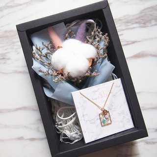 [Fresh Bouquet Gift Box]: Mini Dry Bouquet (Pink Blue) + [Marine Dreamcatcher Necklace]
