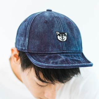Denim Cap with Black Shiba Dog Embroidery